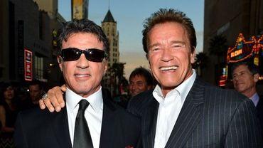 Sylvester Stallone et Arnold Schwarzenegger à la première d'Expandables 2