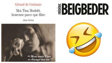 """Couvertures de """"Moi, Tina Modotti, heureuse parce que libre' (Gérard de Cortanze) et de """"L'homme qui pleure de rire"""" (Frédéric Begbeider)"""