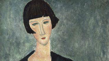 "Amedeo Modigliani, ""Femme assise à la robe bleue"", 1918-1919. Moderna Museet, Stockholm. Donation d'Oscar Stern, 1951."