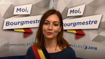 """Hélène Lebrun, la jeune et nouvelle bourgmestre d'Houyet, lors de son passage dans notre émission """"Moi, bourgmestre...""""."""