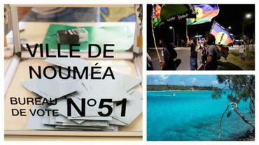 Image prise dans un bureau de vote de Nouméa, de joie d'indépendantistes et d'un paysage néo-calédonien