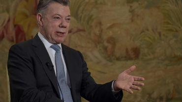 Le président colombien Juan Manuel Santos au palais présidentiel de Bogota, le 30 juillet 2018