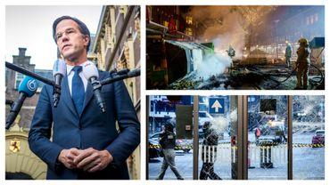 Mark Rutte, le Premier ministre néerlandais, le 25/01/21, et images des heurts à Rotterdam et à Eindhoven.