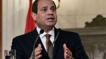 Le président égyptien Abdel Fattah al-Sisi lors d'une conférence de presse le 8 décembre 2015 à Athènes