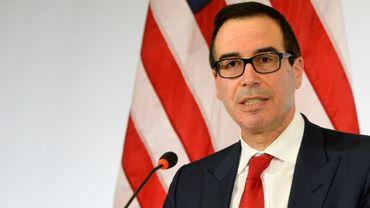 Le secrétaire américain à Trésor Steven Mnuchin lors d'une conférence de presse au G20 Finances, le 18 mars 2017 à Baden-Baden, en Allemagne