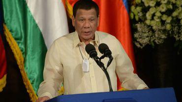 Le président philippin Rodrigo Duterte, le 18 octobre 2019 lors d'une conférence de presse au palais présidentiel à Manille
