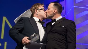 Elton John et son compagnon David Furnish lors du gala annuel de l'organisation Human Rights Watch