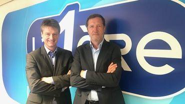 Olivier Chastel, tête de liste MR et Paul Magnette, tête de liste PS pour les élections européennes.