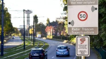 Radar Tronçon sur le boulevard Léopold III, à Bruxelles, en 2018