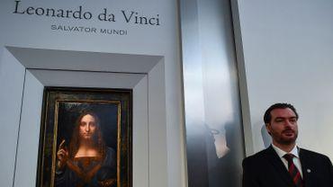 """Le """"Salvator Mundi"""" de Léonard de Vinci lors de sa vente chez Christie's à New York"""