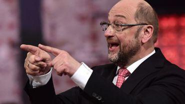 Martin Schulz lors de son discours dans la foulée de son élection à la tête du SPD ce dimanche