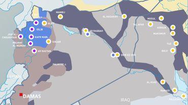 Principales frappes aériennes américaines, russes et françaises en Syrie et dans le nord de l'Irak