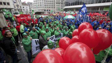 Une manifestation syndicale à Bruxelles en 2015