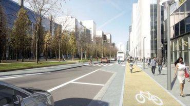 Le boulevard Albert II et sa piste cyclable séparée.