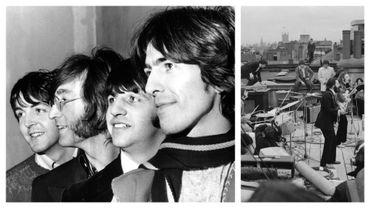 Les Beatles en 1967 et lors de leur concert sur la terrasse d'Abbey Road en 1969