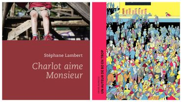 """Couvertures de """"Charlot aime Monsieur"""" (Stéphane Lambert) et """"Un auteur de bd en trop"""" (Daniel Blancou)"""