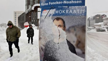 Affiches électorales dans le centre de Nuuk, au Groenland, le 4 avril 2021