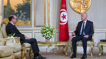 Le président tunisien Kais Saied rencontre le Premier ministre tunisien désigné Elyes Fakhfakh, chargé de former un gouvernement, au palais présidentiel de Carthage, à l'est de Tunis le 20 janvier 2020