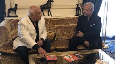 Thierry Bellefroid en compagnie de l'auteur de la semaine Éric-Emmanuel Schmitt.