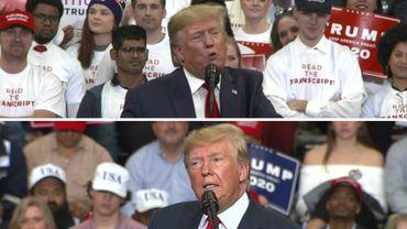 """Entre deux meetings de Donald Trump, les slogans """"Read the transcript !"""", apposés sur les T-shirts des militants ont disparu"""