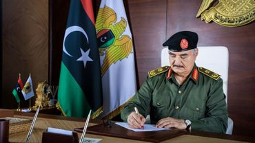 Khalifa Haftar, homme fort de l'est de la Libye, photo diffusée le 18 septembre 2020