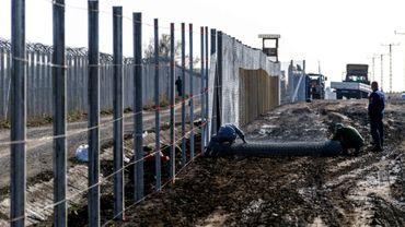 Des détenus érigent une clôture à la frontière hongro-serbe dans le village de Gara, le 27 octobre 2016, destinée à empêcher des migrants d'entrer en Hongrie