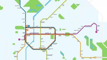 Le tracé du futur métro (en vert).