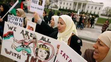Des femmes libyennes manifestent en soutien à Iman Al-Obeidi, le 30 mars 2011 à Washington DC