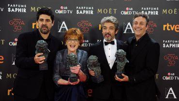 Cesc Gay, Marta Esteban, Ricardo Darin et Tomas Aragay lors de soirée de remise des Goyas, le 6 février 2016