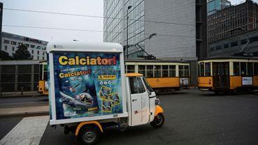Le triporteur de Andrea Carbini dans les rues de Milan.