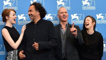 "L'équipe du film ""Birdman"": Emma Stone, Alejandro Inarritu, Michael Keaton et Andrea Riseborough"