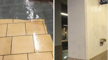 Le décollement du revêtement de sol de plusieurs quais de la gare de Namur constituent un réel danger de glissade. Un problème accentué par des infiltrations d'eau.