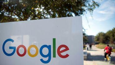 Le logo de Google, qui a renoncé mardi à un contrat géant avec le Pentagone, photographié ici le 4 novembre 2016 en Californie.