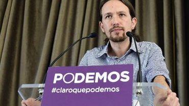 Pablo Iglesias, le leader de Podemos, donne une conférence de presse, le 30 mai 2014 à Madrid