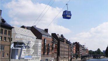 Le futur téléphérique de Namur, en 2018, devrait relier la place Maurice Servais, au bord de la Sambre, et le sommet de la Citadelle, 650 mètres plus haut.