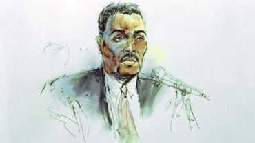Croquis d'audience de Rodney King, dans le tribunal fédéral de Los Angeles, le 9 mars 1993