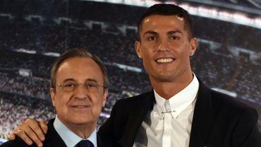 Florentino Perez, président du Reall Madrid avec Cristiano Ronaldo