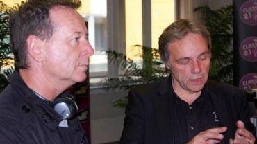 Jim Kerr et Marc Ysaye avant le début de l'interview