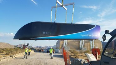 Photo fournie par la startup américaine Hyperloop One du prototype de train à très grande vitesse Hyperloop, le 12 juillet 2017