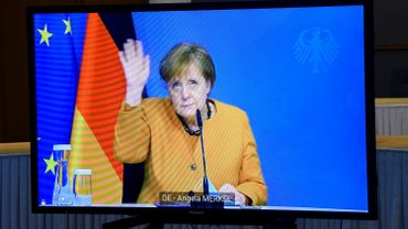 Angela Merkel en visioconférence avec Charles Michel, le 5 mars 2021