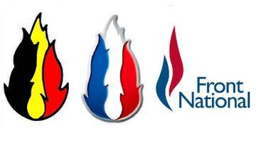 Le logo du FN Belge, identique au logo historique du Front National. Le troisième est le logo actuel du FN.