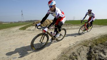Alexander Kristoff en reconnaissance sur les pavés de Roubaix