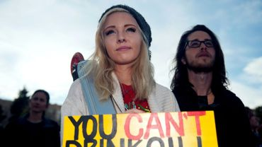 Des activistes de la cause améridienne manifestant à Denver (Colorado)le 10 mars 2017 contre l'oéloduc Keystone XL