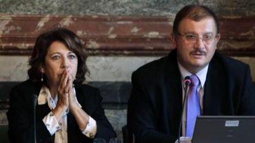 Gilles-Eric Seralini et Corinne Lepage lors de la conférence de presse de ce jeudi 20 septembre 2012.