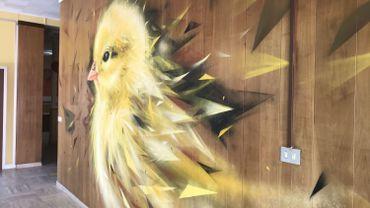 """""""Le Pouyon"""" une fresque murale à la bombe de l'artiste grapheur namurois Mehsos"""