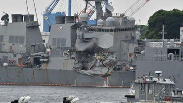 Le destroyer USS Fitzgerald qui a été fortement endommagé par un porte-conteneurs à Tokyo le 18 juin 2017