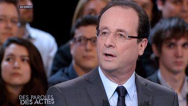 """François Hollande lors de l'émission """"Des paroles et des actes"""""""