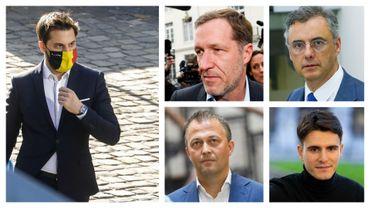 Georges-Louis Bouchez (MR), Paul Magnette et Joachim Coens (CD&V), Egbert Lachaert (Open VLD) et Conner Rousseau (sp.a)