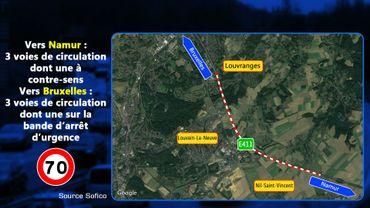E411: Réhabilitation du revêtement entre Louvranges et Thorembais-Saint-Trond vers Namur