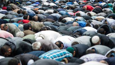 """Des musulmans de toute l'Allemagne ont dit, vendredi jour de prière, leur rejet de tous les extrémismes, en particulier islamiste, à l'occasion d'une vaste journée d'action contre """"la haine et l'injustice""""à Berlin le 19 septembre 2014"""